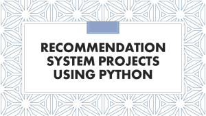 Recommendation System Projects using Python