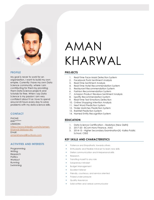 Sample Resume for a Data Science Fresher
