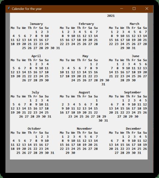 Calendar GUI using Python