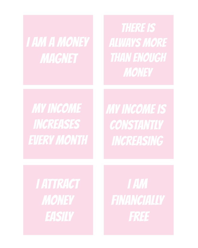 photo about Printable Affirmations called Printable Income Affirmations - The Smart Aspect
