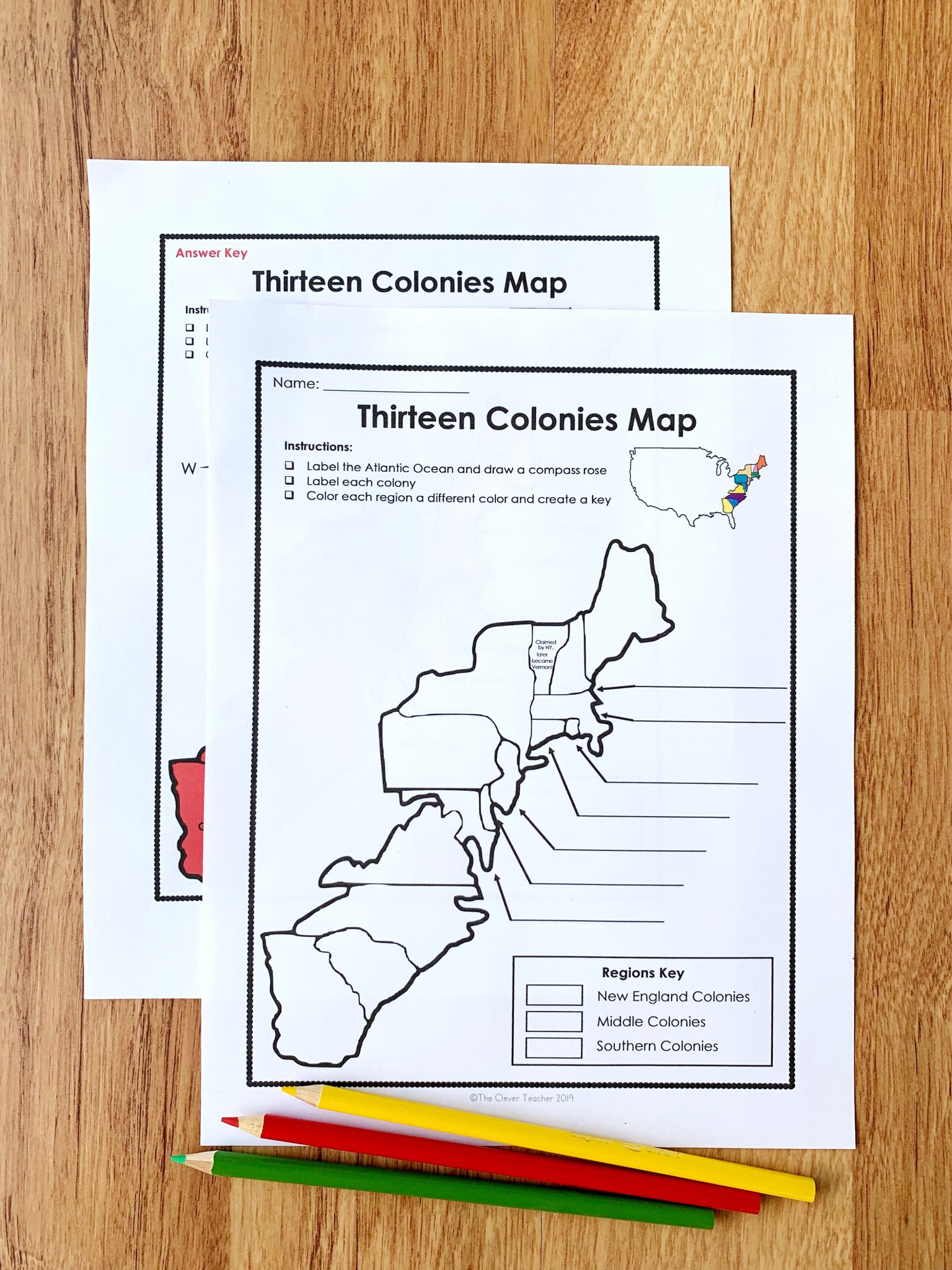 13 Colonies Free Map Worksheet and Lesson for students [ 1024 x 768 Pixel ]
