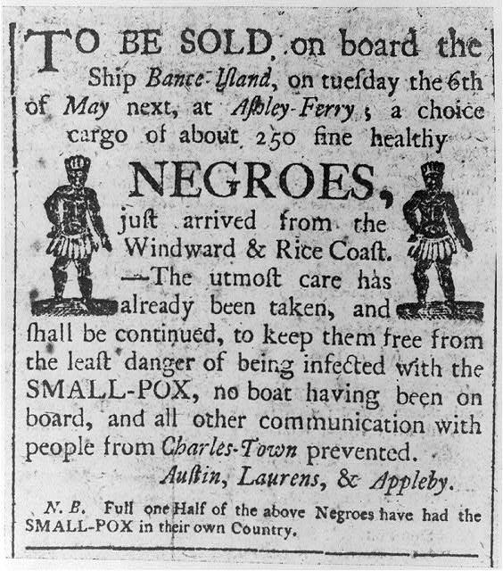 Newspaper advertisement from the 1780s for the sale of slaves at Ashley Ferry (South Carolina)