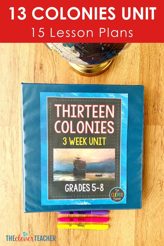 13 colonies map free worksheet download link