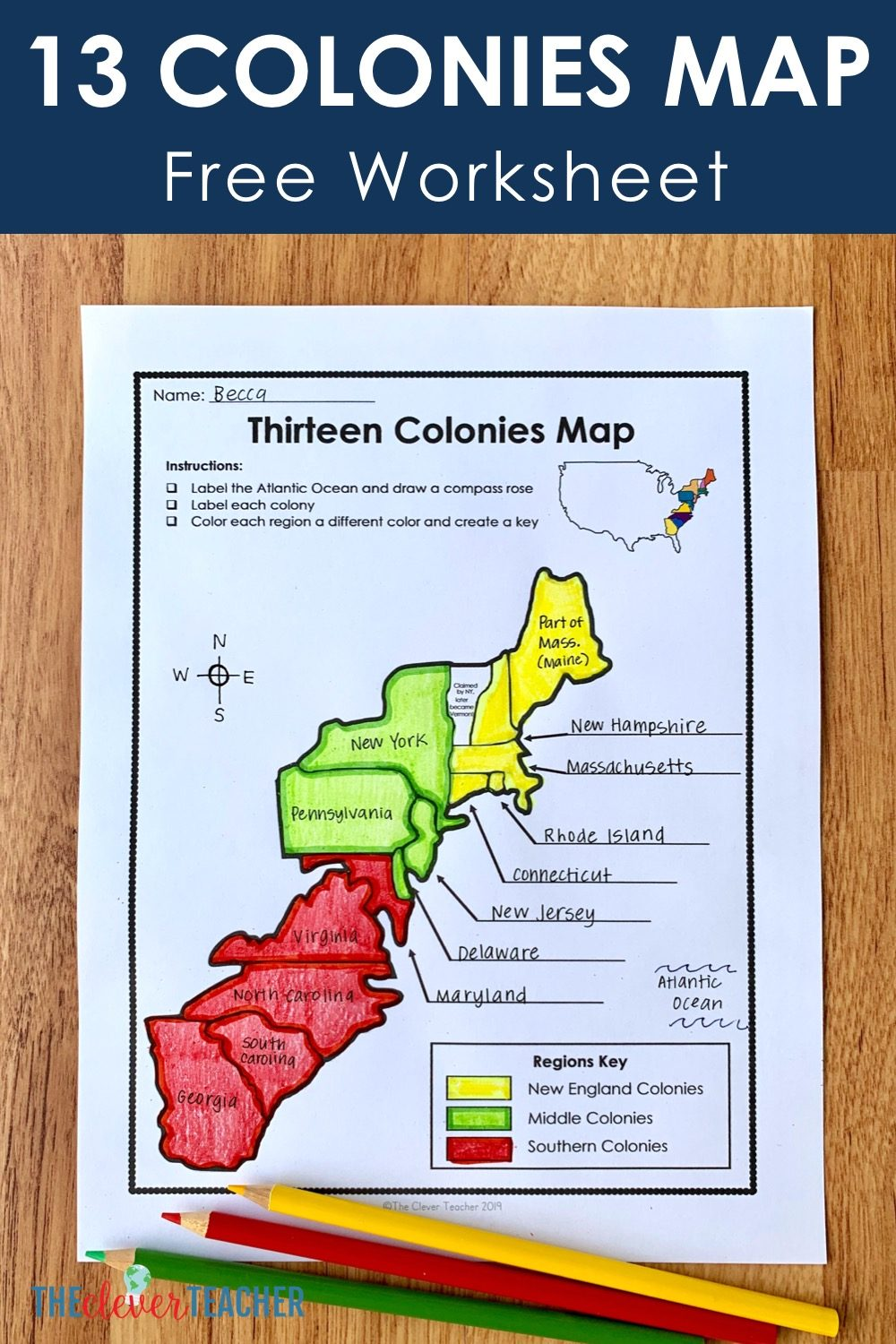 13 Colonies Free Map Worksheet and Lesson for students [ 1500 x 1000 Pixel ]