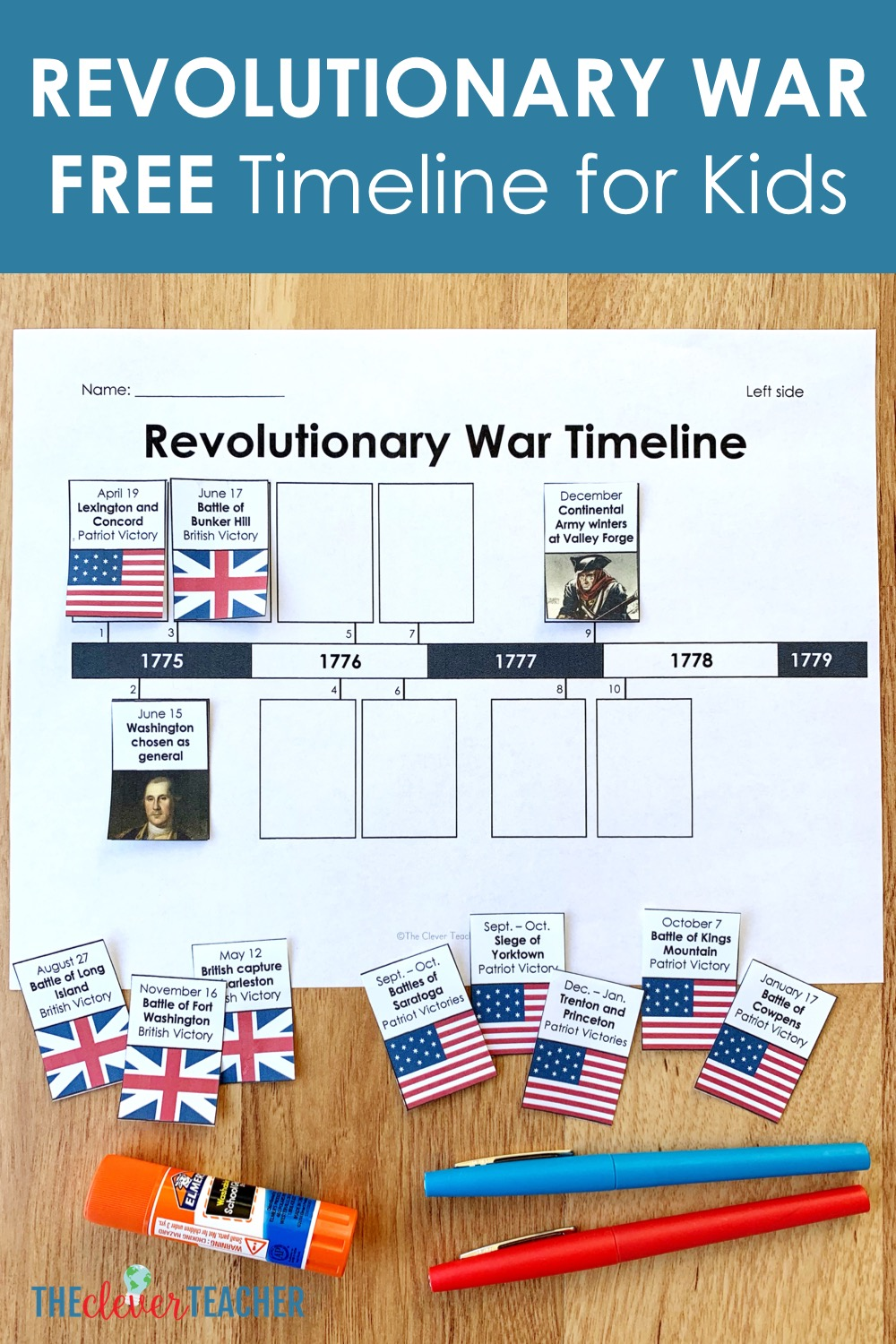 Revolutionary War Timeline for Kids: Free from The Clever Teacher [ 1500 x 1000 Pixel ]