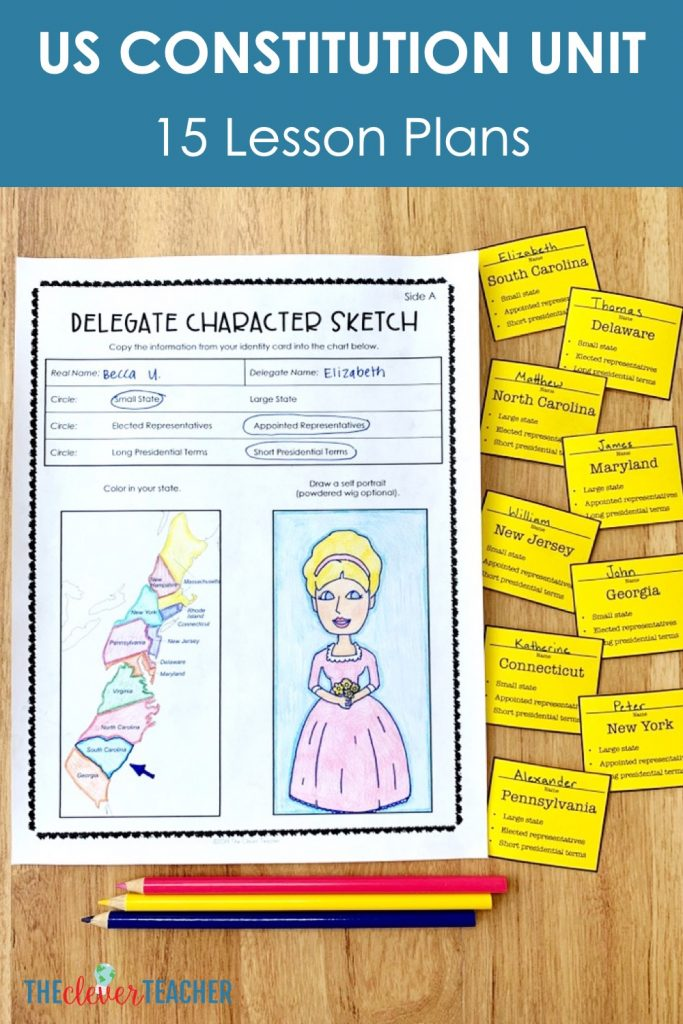 US constitution lesson plans for 5th grade and middle school