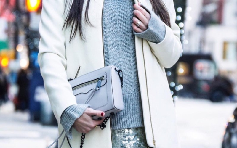 Cozy Knit Paired with a Sequins Mini Skirt