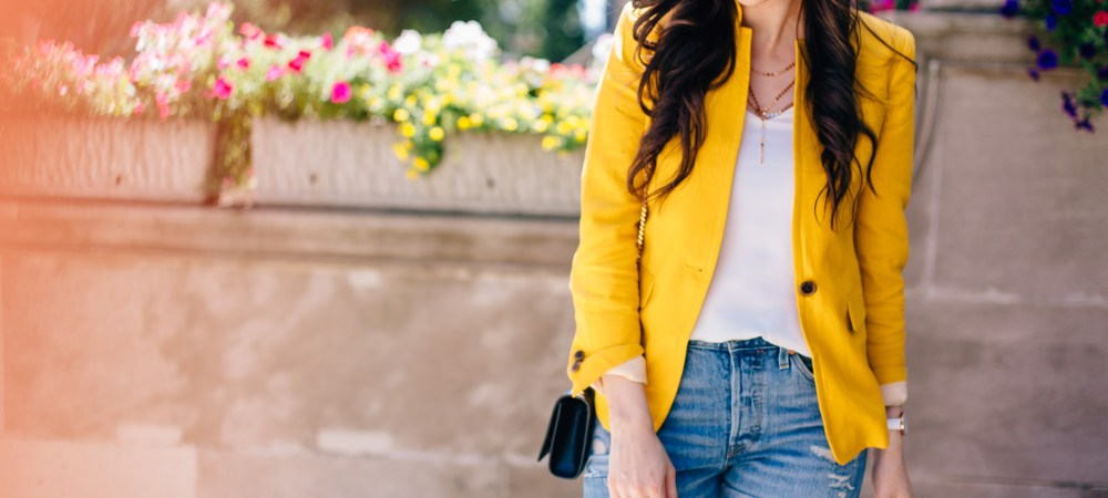 Yellow Blazer and Denim Shorts