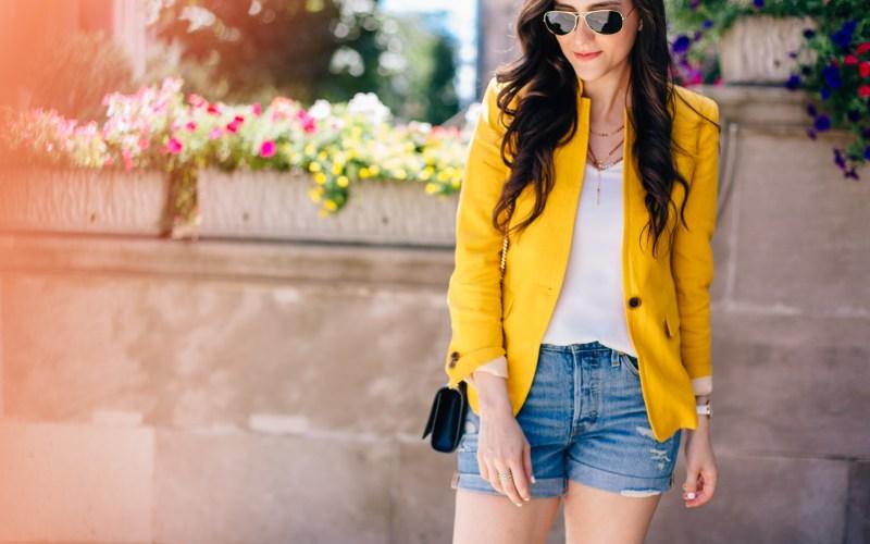 Yellow Blazer and Denim Shorts