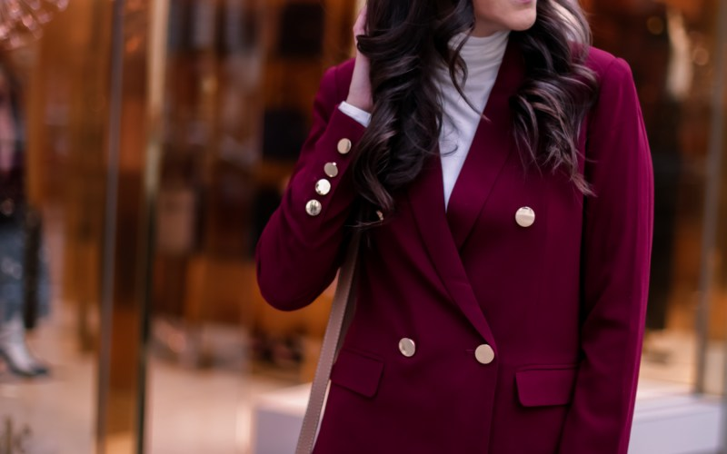 Burgundy Blazer for Fall