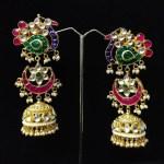 Peacock Kundan Jhumka Earrings
