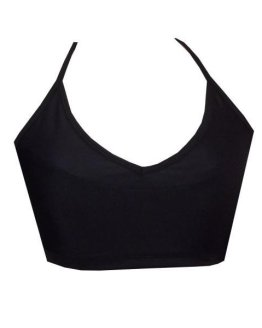 Rhapso Designs Cross Over Back Womens Sports Crop Top - Black