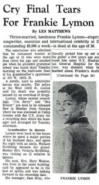 Newspaper announcement of Frankie's Death