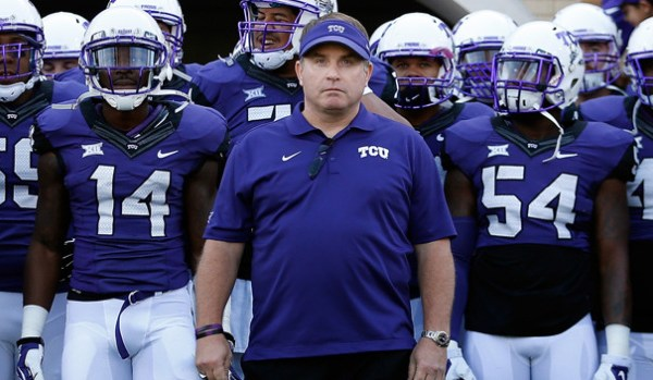 FORT WORTH, TX - DECEMBER 06:  Head coach Gary Patterson of the TCU Horned Frogs leads his team onto the field before the Big 12 college football game against the Iowa State Cyclones at Amon G. Carter Stadium on December 6, 2014 in Fort Worth, Texas. The Horned Frongs defeated the Cyclones 55-3. (Photo by Christian Petersen/Getty Images)