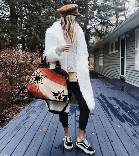 salty blonde vans fur coat brixton hat