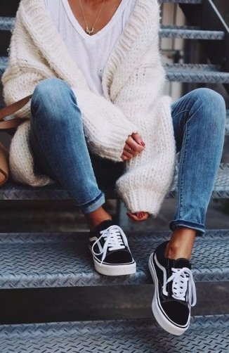 vans jeans white fuzzy sweater