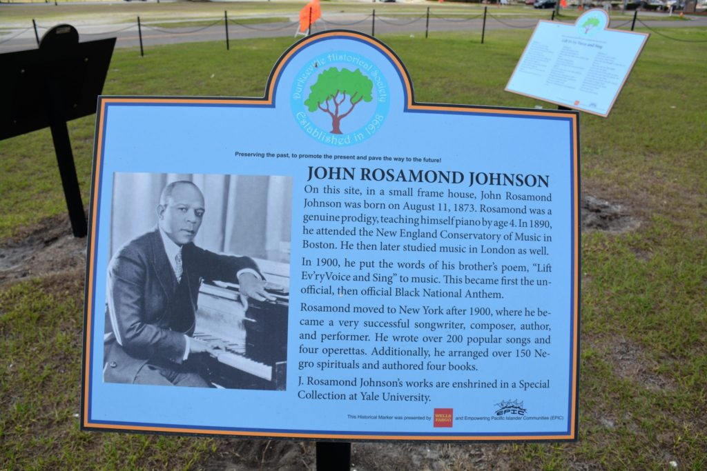 John Rosamond Johnson placard in Lift Ev'ry Voice and Sing Park, Jacksonville, FL