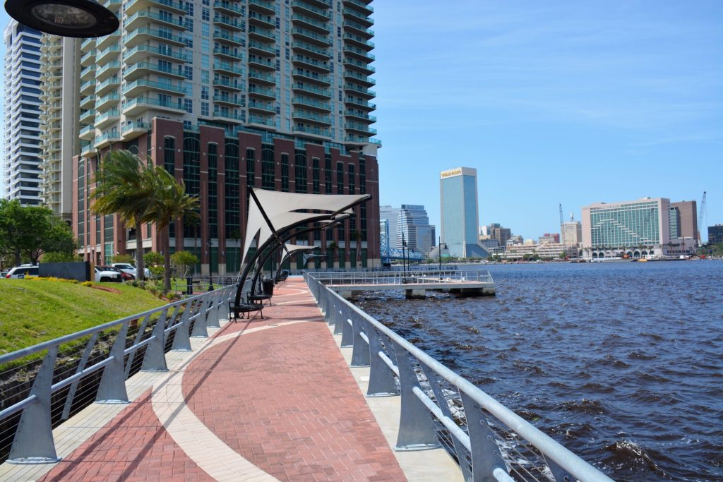 Southbank Riverwalk looking toward The Strand, downtown Jacksonville, FL
