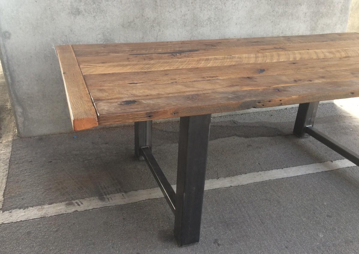Custom Reclaimed Wood and Metal Dining Table  The Coastal Craftsman