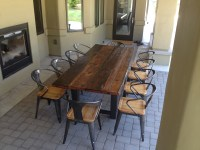Reclaimed Wood and Steel Outdoor Dining Table | The ...