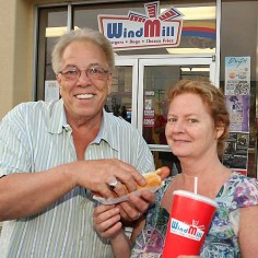 George and Debbie Krenkel of Ocean Township were enjoying hot dogs from the Windmill at the entrance to Ocean Grove Sat., June 15.