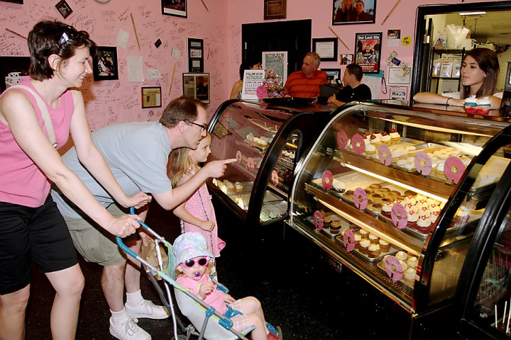 Checking out cupcakes at Confections of a Rock Star in Asbury Park were Amy Vojta, John Logan with Molly and Paige and Kaitlyn Johnson, all of Asbury Park.