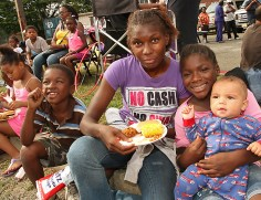 At the cookout at St. Stephen AME Zion Church, 1001 Springwood Ave., Asbury Park were Latiesha Brown, Wzaheen Brown and Ihjanah Cooper holding Jaiden.