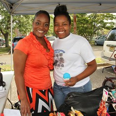Sylvia Coleman is pictured with Jaevani Prince at the cookout.