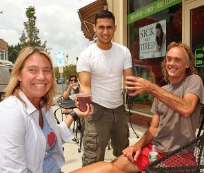 Ken Sorensen (right) of Asbury Park is pictured with Meg Donoghue Kelly of Neptune and waiter Jayardo Rugana at Pure on Cookman Avenue in Asbury Park.
