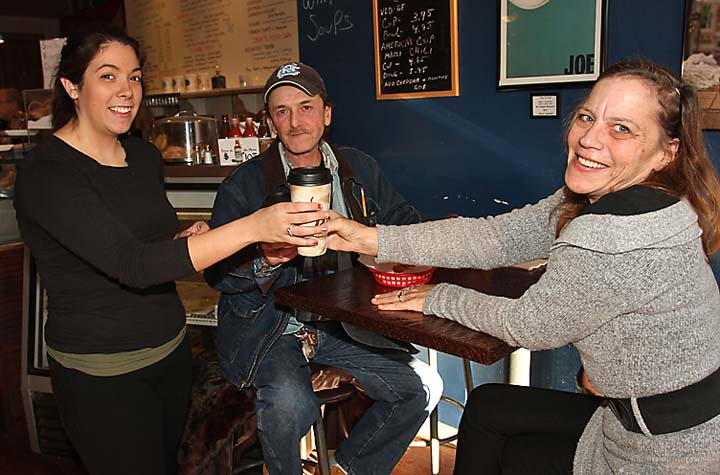 At America's Cup coffee shop on Cookman Avenue in Asbury Park were Cy Harvilla, Asbury Park; Peggy Jankowski, Neptune City and Alexis Simoes of America's Cup. - Coaster photo by Mike Kearns