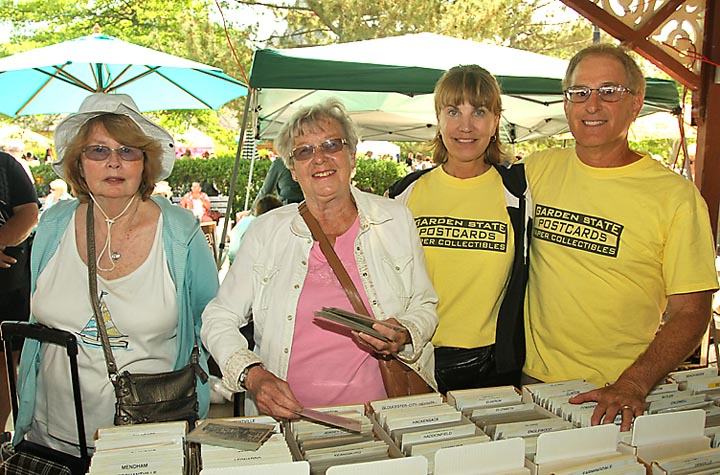 Catharine Barrett, Matawan; Joann Snyder, Keyport, Terri King, Shark River Hills and Sandy Brodsky, also of Shark River Hills were at the postcard stand at the Ocean Grove Flea Market Sat., May 31.