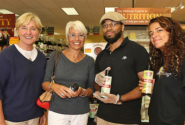 Dean's Market in Ocean Township held Customer Appreciation Day over the weekend. During the event Yussef Ijmaio of Barlean's Foods and Jess Putaski of Ddean's (right) spoke to Interlaken residents Donna Griffin (left) and Mary Ann Vitiello (second from left).