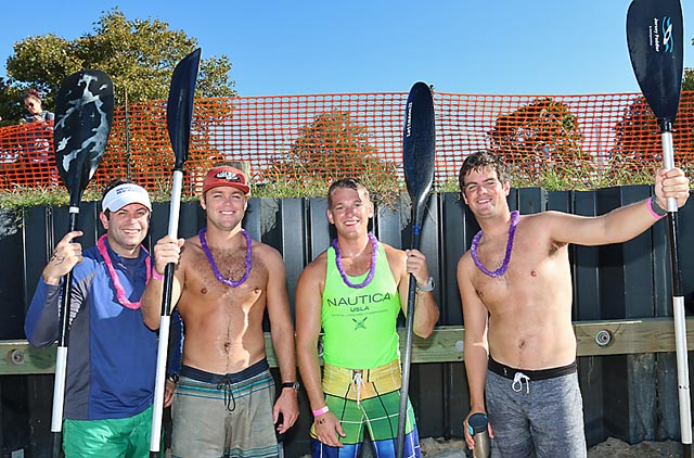 Participating in the Stand Up Paddle Event Sat., Sept. 27 were Mark Jarmon, Shark River Hills, third place winner; Shane Hueth, Wall Township, first place winner; Jack Gramlich, Manasquan, fourth place and Liam O'Donnell, second place, Manasquan.