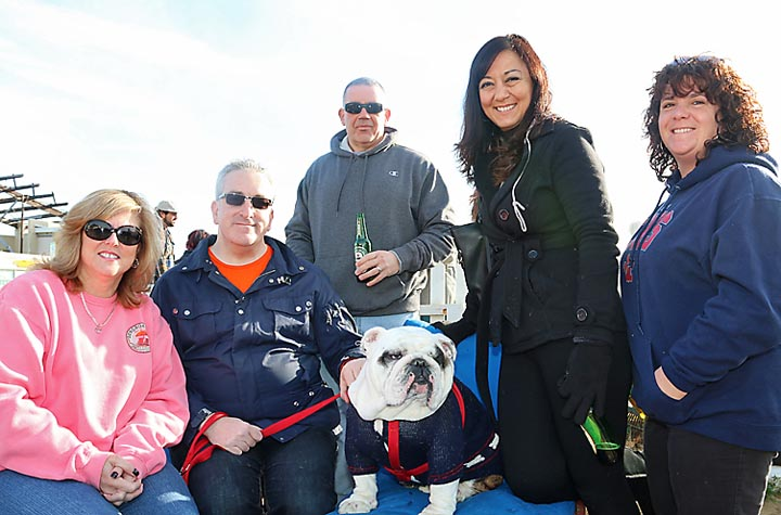 Pictured at the bulldog rescue event at the Wonder Bar in Asbury Park were Nancy Vitello, Howell Township; Joe Scotto, Manhattan; Dan Vitello, Howell Township, Linda Haythorn, Lacey Township and Jennifer Localio, Lacey Township. Oliver, the dog, was the star.
