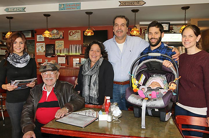 At Chat 'n Nibble in Asbury Park were Bradley Beach residents Marshall, Beverly, Adam, Sarah and Charlotte Weinstein and Bernard Wiener. Elizabeth Galicia waited on them.