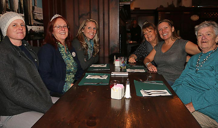Meeting at Jack's Tavern were Rachel and Kaarin Menser, Wall Township; Ashley Repka, Jackson Township; Susan Pappa, Wall Township; Nicole Pappa, Wall Township and Jeanne Harrington, Ocean Beach.