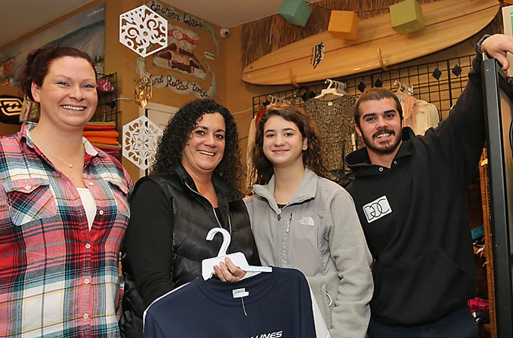 At the Eastern Lines Surf Shop on Ocean Avenue in Belmar were Darby Tarrant and Nick Delisa, both of Belmar and Petra Parliament and Andrea Parliament, both of Toms River.