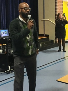 Keynote speaker, Dr. Rashawn Adams speaks to fathers and students at the Nov. 7 Bring Dad to School Day. Asbury Park Board of Education President Angela Ahbez Anderson and Principal Thea Jackson-Byers lead the event.