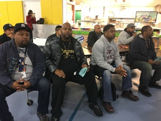 Several of the more than 100 Dads who attended the Bring Dad to School Day on Tues., Nov. 7 at the Thurgood Marshall School in Asbury Park listened to inspirational comments from school officials including Superintendent Dr. Lamont Repollet, Rev. Lyddale Akins and William Young.