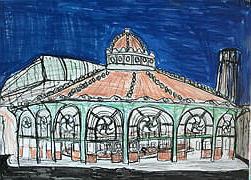 This painting of the carousel building is the work of Peter Price.