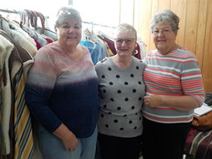 Helping out with the costumes for the Streets of Bethlehem are church members Cindy Brzozowski, Sue Giambalvo and Karen Goodwin.