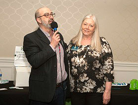 Greater Ocean Township Chamber of Commerce President Michael Bellina wishes departing Executive Director Kim Horn Blanda farewell.