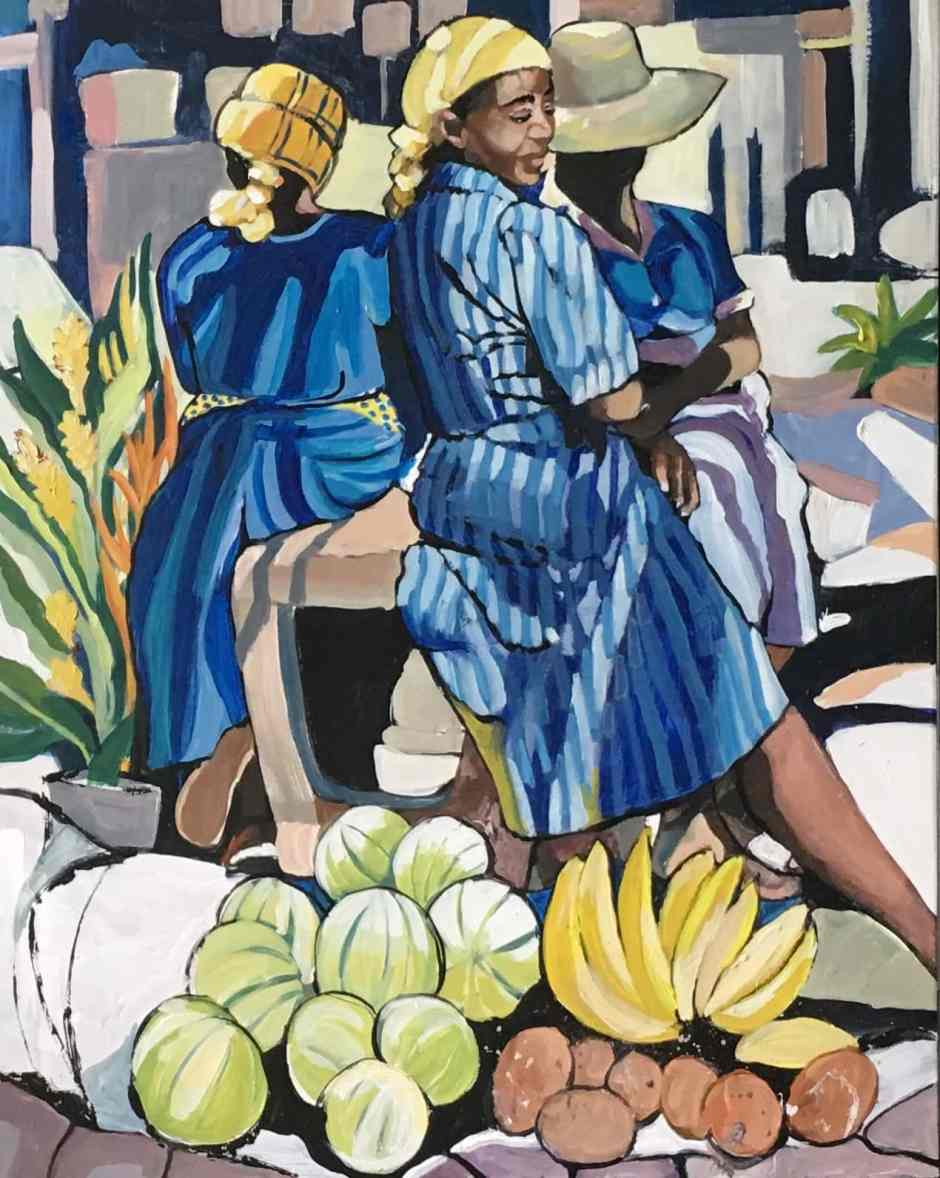 A painting of fruit vendors by Jan Farara, Antigua