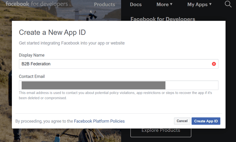 Create App in Facebook for Developers