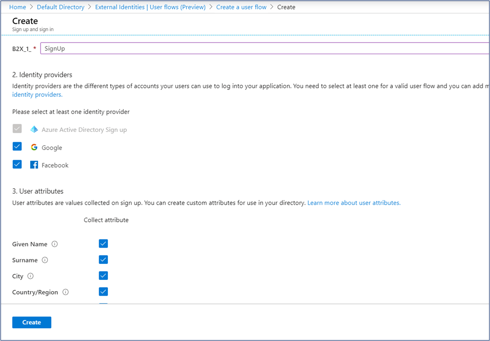 Create the user flow in Azure AD B2B