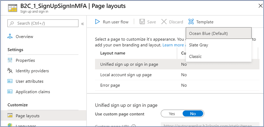 Customization of page layouts in user flow