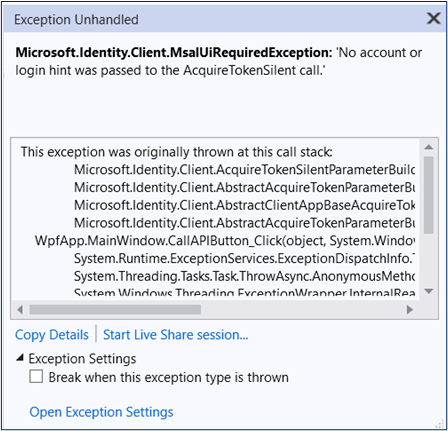 MsalUiRequiredException thrown if user is not logged in