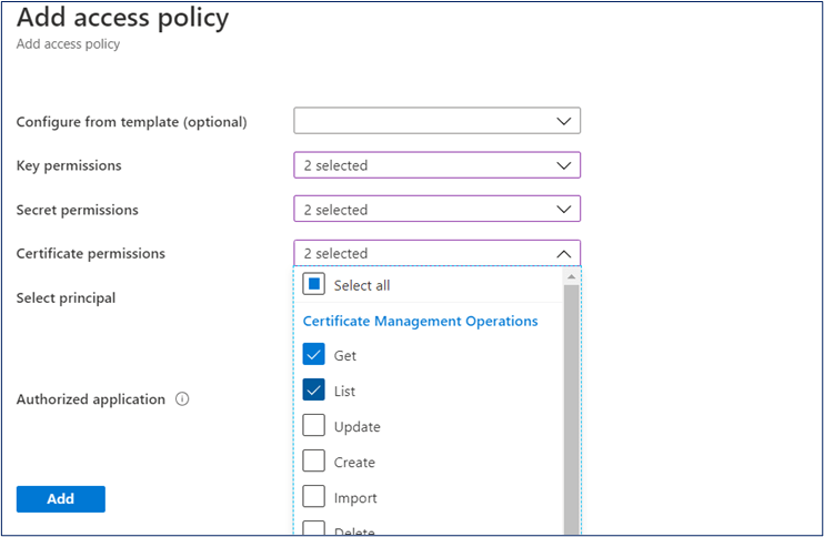 Azure Portal: Assign permissions to the key vault access policy