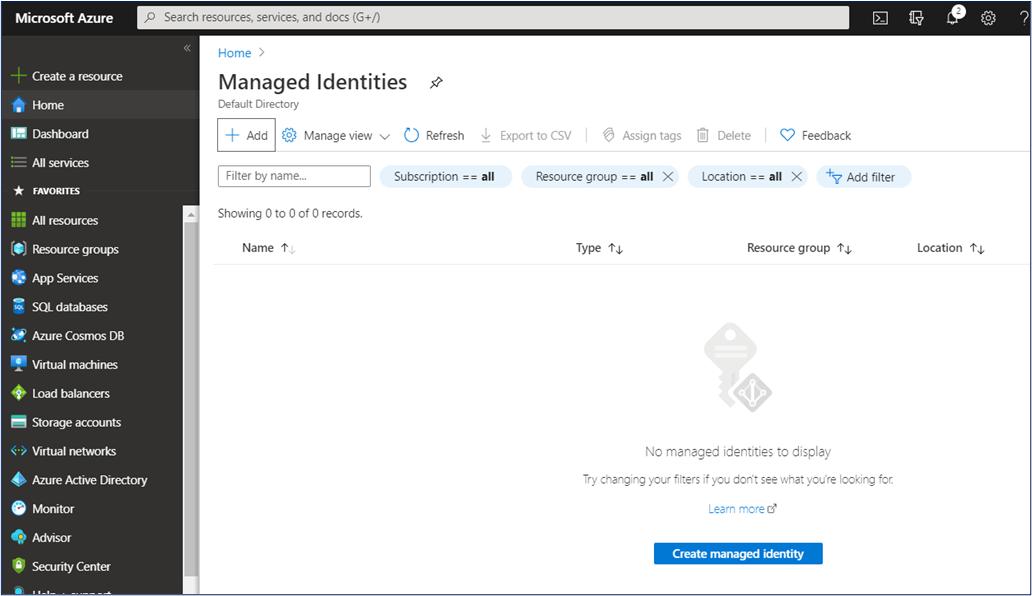 Azure Portal - Managed identities list panel
