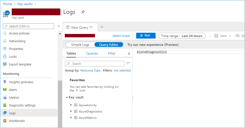 Azure Portal: Querying resource logs